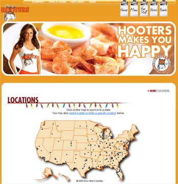 Hooters Locations in the United States, see Hooters Website