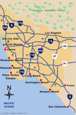 Landkarte Südkalifornien Region L.A.