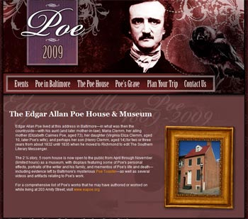 Nevermore 2009 Baltimore Webiste: 200 years Edgar Allen Poe