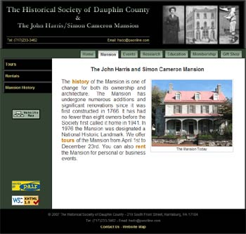 Website The Historical Society of Dauphin County and the John Harris/Simon Cameron Mansion; 2007