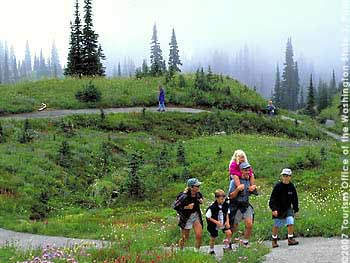 Family on Trail in Wildflowers above Paradise, Mount Rainier National Park